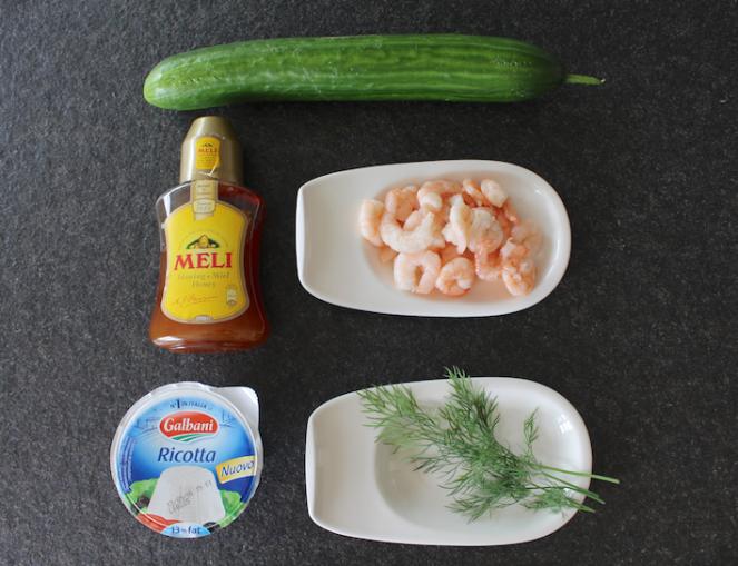 komkommer - honing - garnaal - ricotta - dille