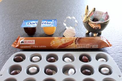 tartelette danette - ingredienten - zanddeeg - danette - chocolade - paaseitjes