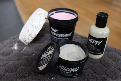 Lush voetcare-Foot Soak - volcano voetmasker - softy marshmallow lotion - pink peppermint voetcrème