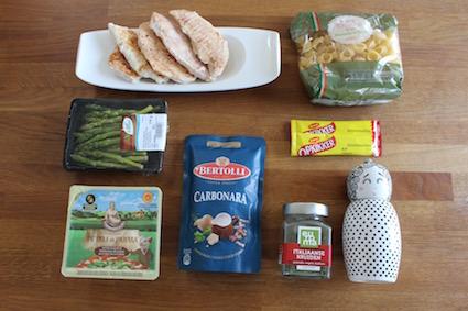 wat je nodig hebt voor de pasta carbonara met kip en groene asperges